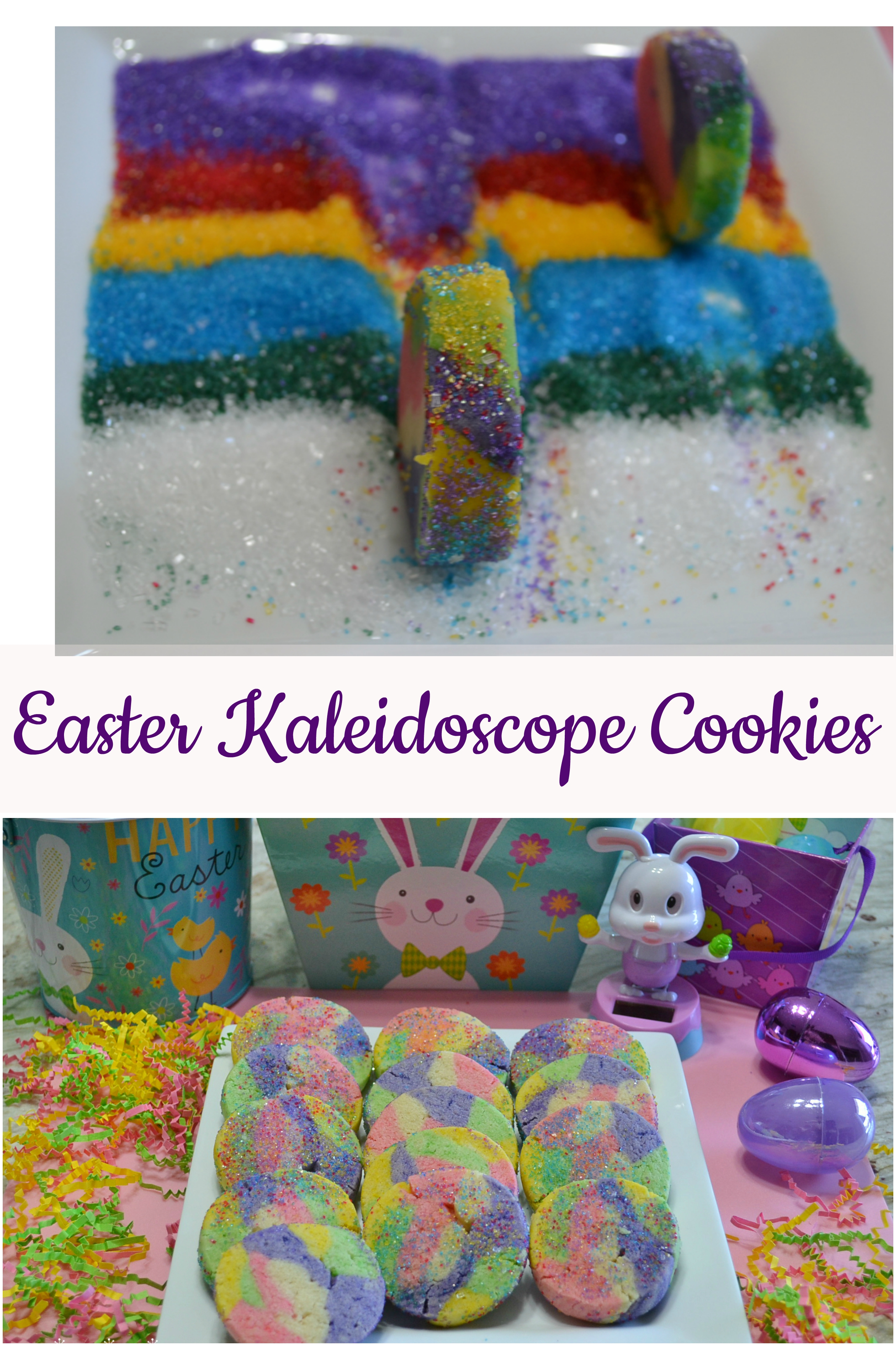 Easter Kaleidoscope Cookies are fun, colorful cookies rolled in sparkles. Perfect to make with your children or grandchildren.