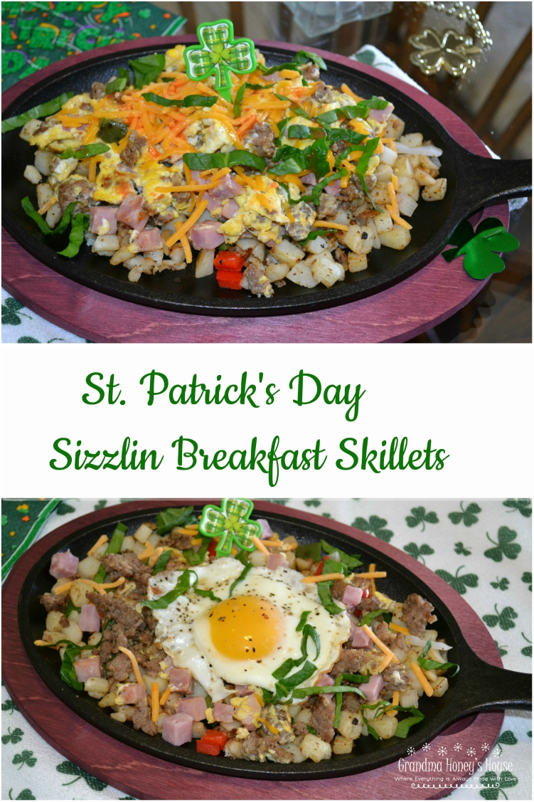 St. Patrick's Day Sizzlin Breakfast Skillets are a coloful, delicious breakfast skillet packed with eggs, potatoes, meats, cheese and veggies.