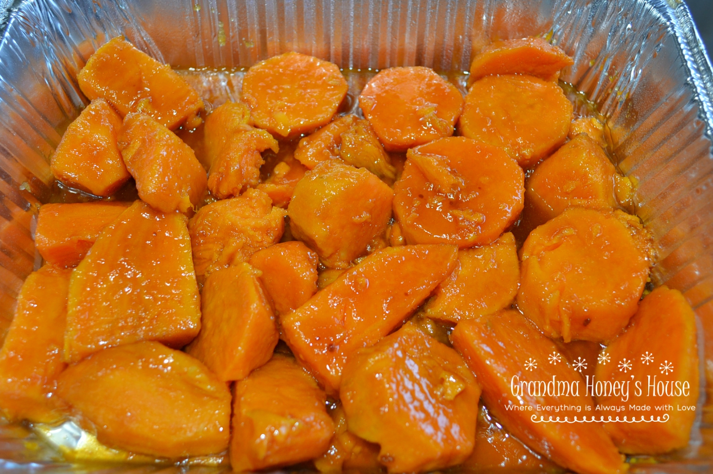 Baked Sweet Potatoes in Brown Sugar Syrup is a traditional holiday side dish.