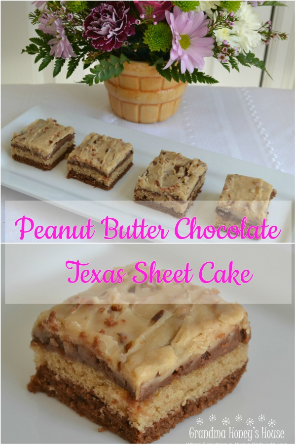 Peanut Butter Chocolate Texas Sheetcake is an awesome dessert. The 2 kinds of sheet cakes are combined and topped with 2 kinds of frosting.