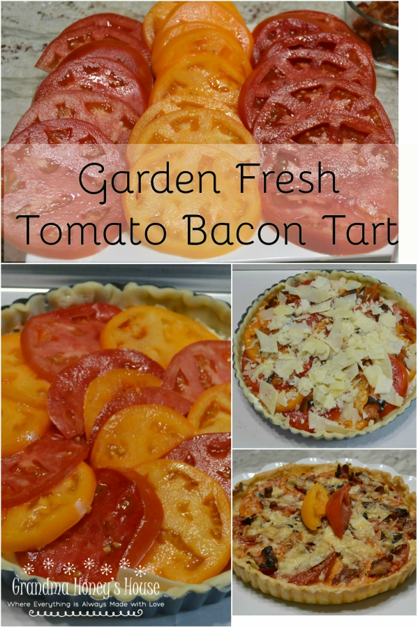 This Garden Fresh Tomato Bacon Tart is a crust filled with chive & onion cream cheese,fontina,fresh tomatoes,bacon and seasonings. Perfect for summertime eating