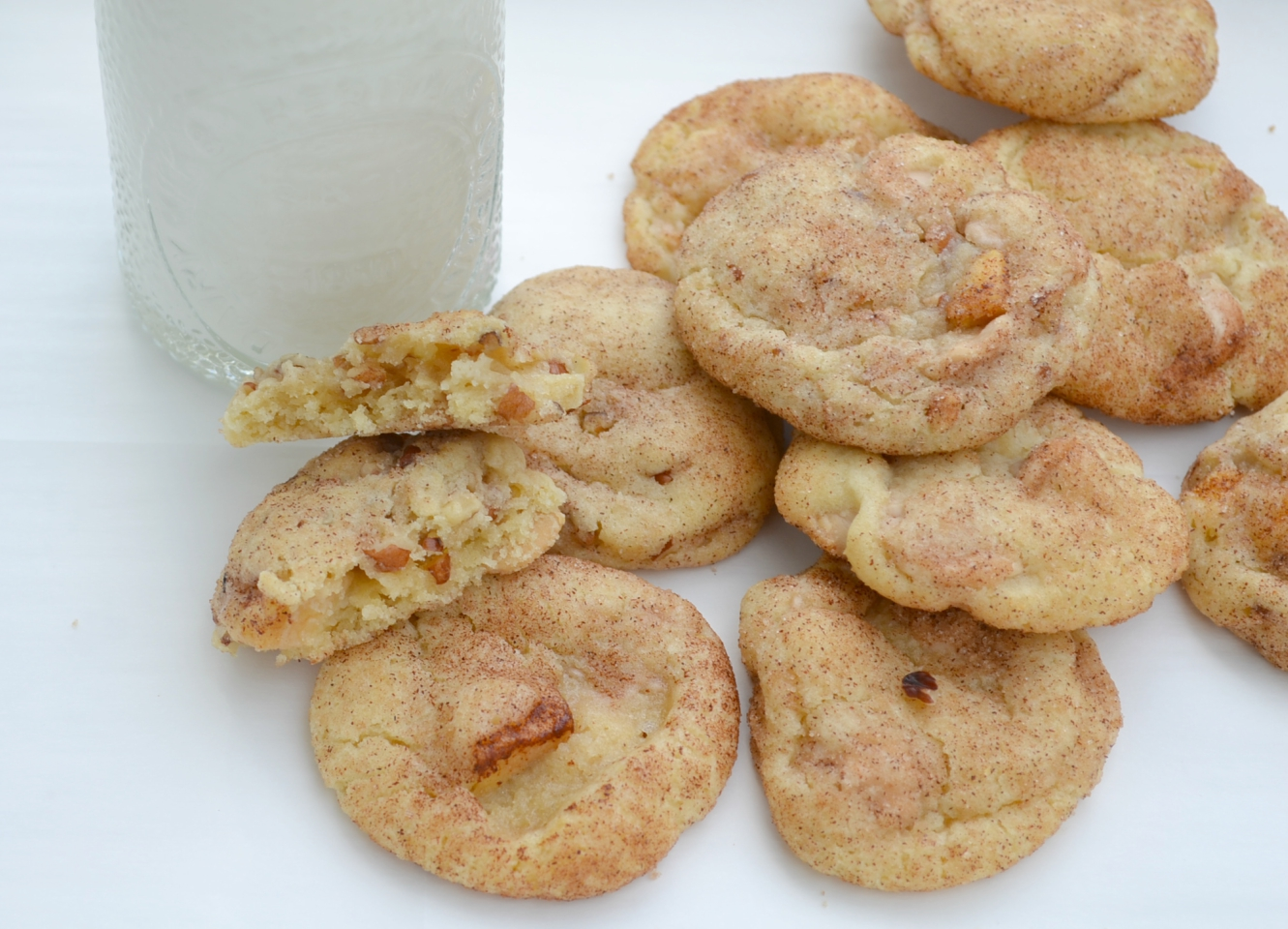 A basic snickerdoodle recipe with caramel baking chips, diced apples, and pecan chips makes an over the top treat.