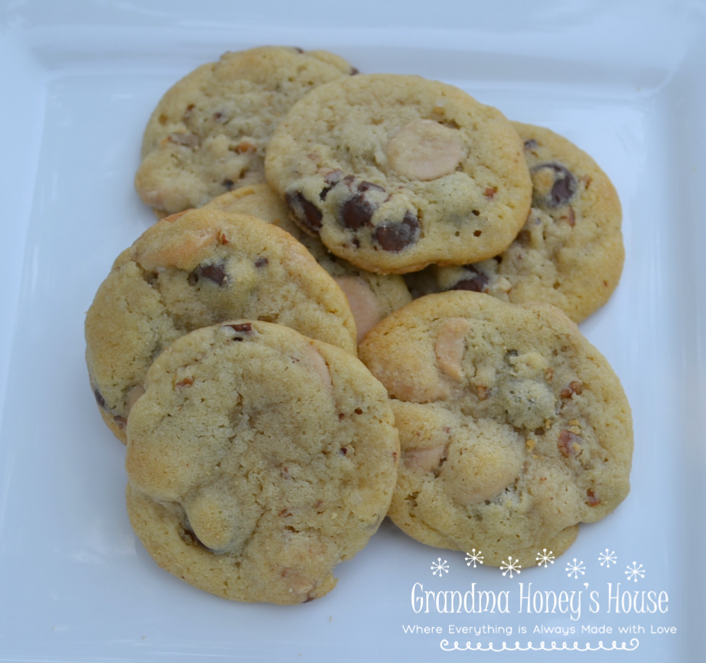These Caramel Pecan Chocolate Chip Cookies are a basic chocolate chip recipe with the addition of caramel baking chips and pecan pieces. A soft center cookie with a toffee taste.