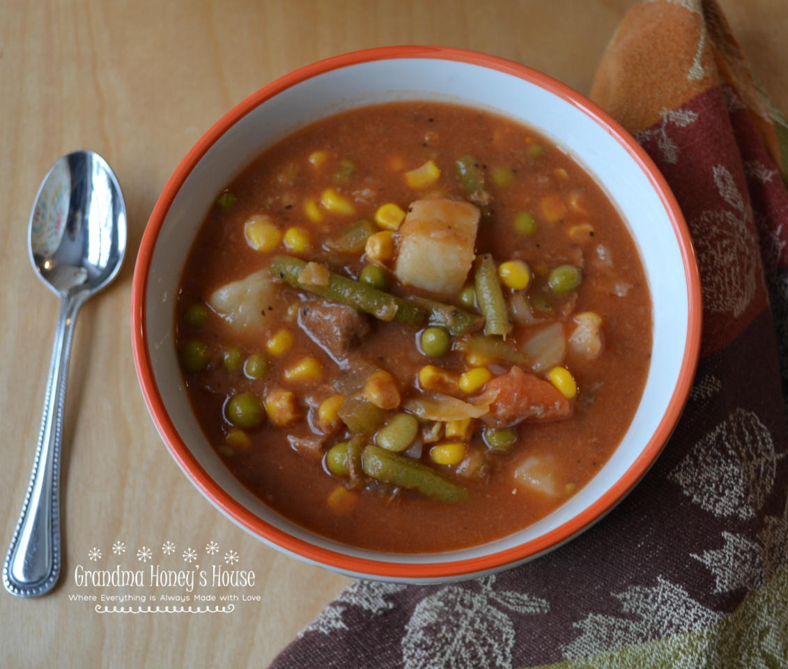 Hearty Beef and Vegetable Soup is an old fashioned, homemade soup packed with tender beef and vegetables.