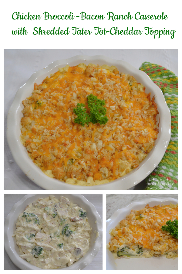 A creamy chicken casserole with bacon, ranch, broccoli and then topped with shredded tater tots and cheddar cheese. It is baked until cheese is melted and mixture is bubbly.