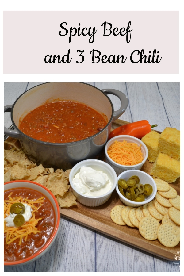 Spicy Beef and 3 bean chili is the ultimate pot of chili. Beef, beans, spices, veggies and tomato juice slow simmered to perfection.