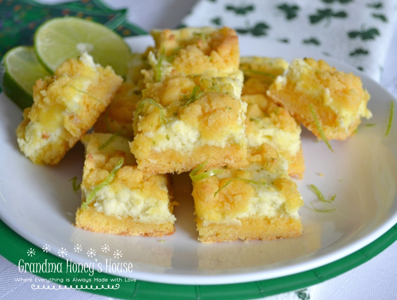 A refreshing lime, cream cheese dessert for St Patrick's Day.