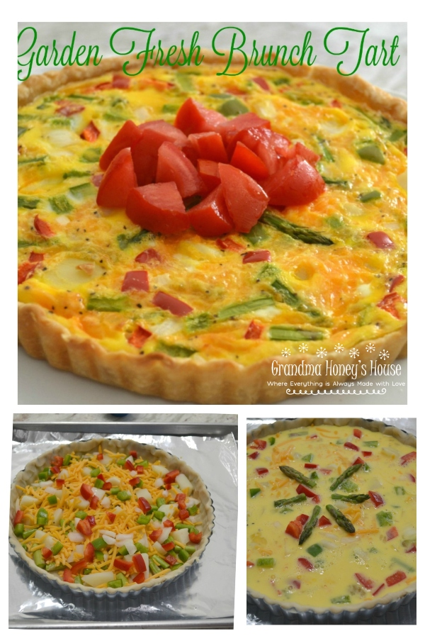 A delicious brunch tart filled with fresh veggies, eggs and cheese. Perfect way to use those summer vegetables.