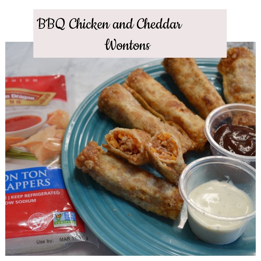 Crispy Twin Dragon Wonton wrappers filled with bbq chicken and cheddar cheese,