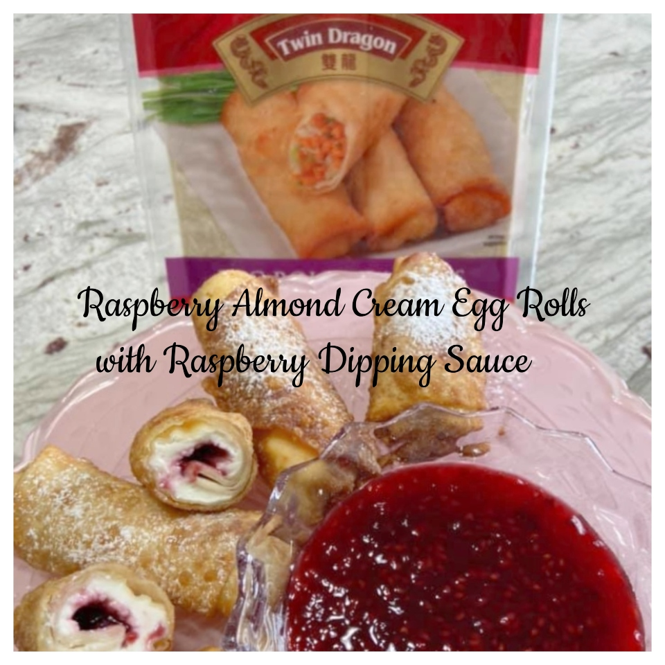 Raspberry Almond Cream Egg rolls with Raspberry Dipping Sauce are an elegant holiday appetizer