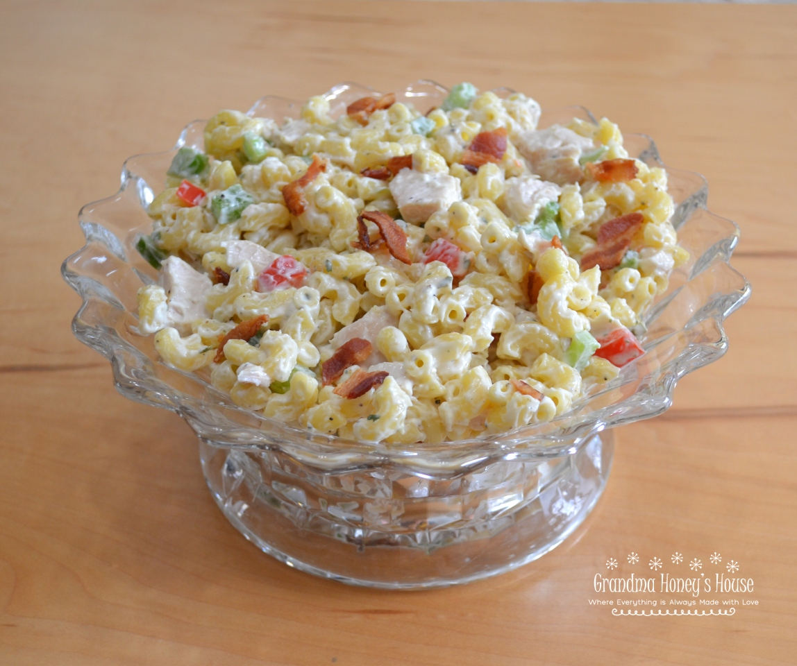 Chicken Bacon Ranch Macaroni Salad by Grandma Honey's House - WEEKEND POTLUCK 476